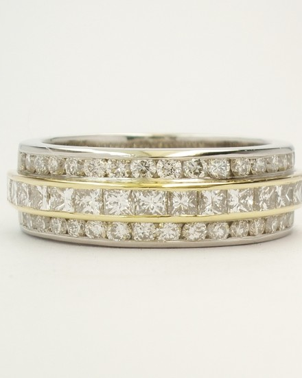 Princess cut diamond and round brilliant cut diamond triple palladium & 18ct. yellow gold eternity ring set to 55% cover.
