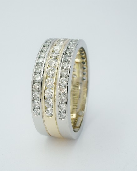 Triple banded diamond set platinum & 18ct. yellow gold wedding ring, diamonds set to 55% cover.