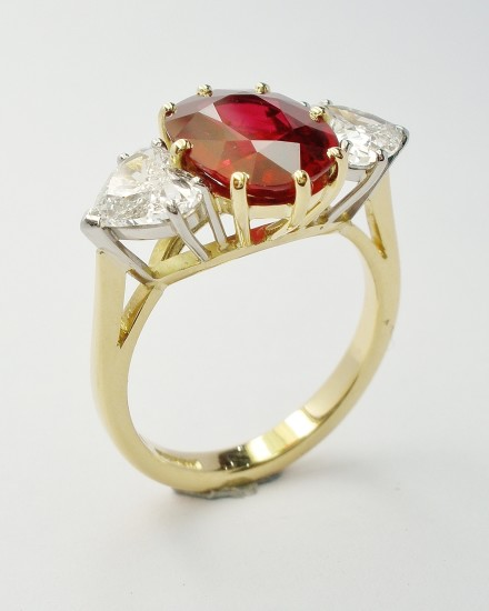 2.38ct super fine, pigeon blood red, oval Ruby with a pair of 0.75ct 'D' colour heart shaped diamonds. Ideal ruby size 1.00ct to 3.00ct Heart diamonds in proportion to ruby.