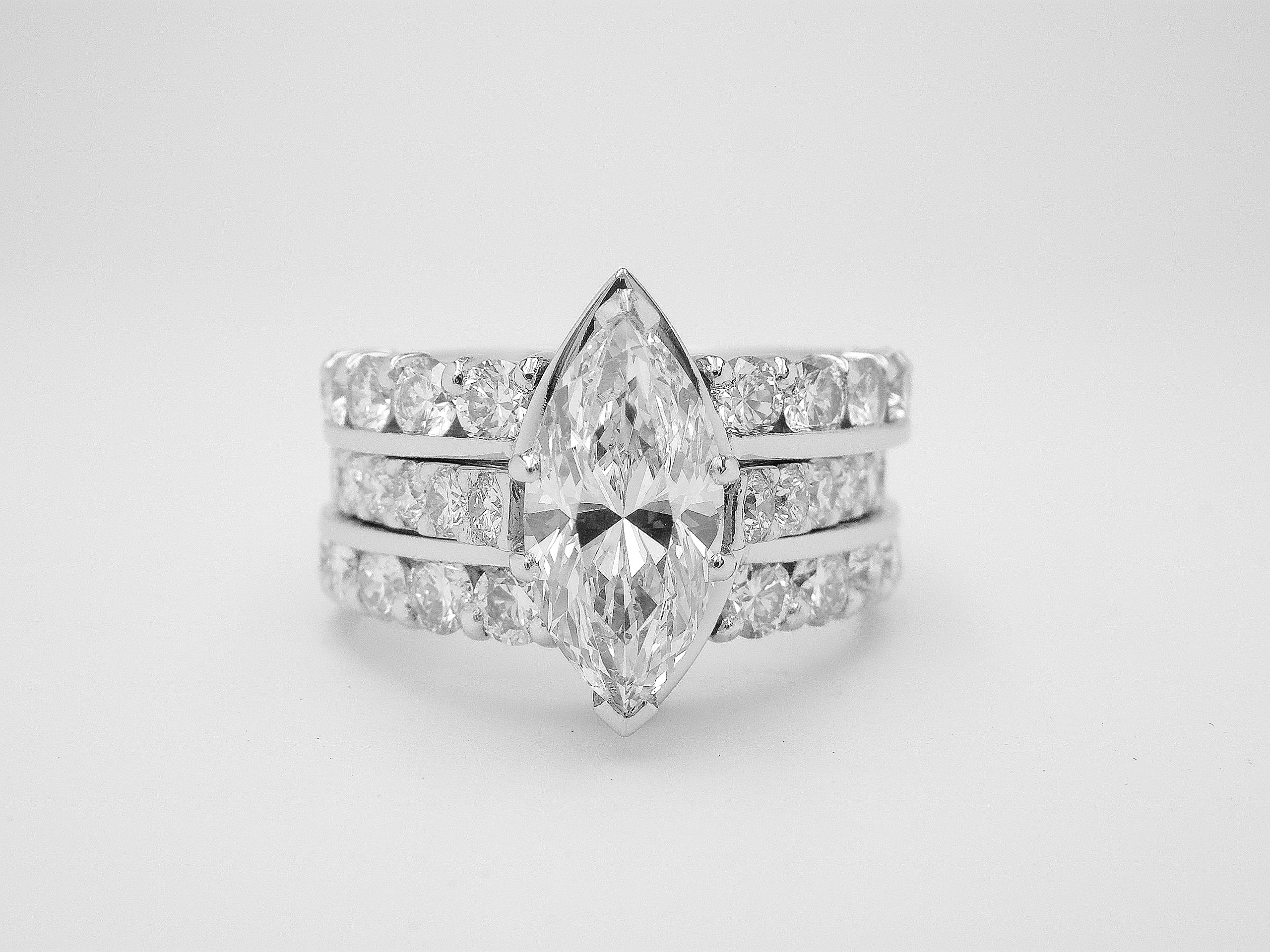 rings gold marquise cut ring white stone engagement trellis sku three diamond trillion
