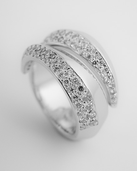 18ct. yellow gold & palladium pave set round brilliant cut diamond triangular sectioned wrap over ring.