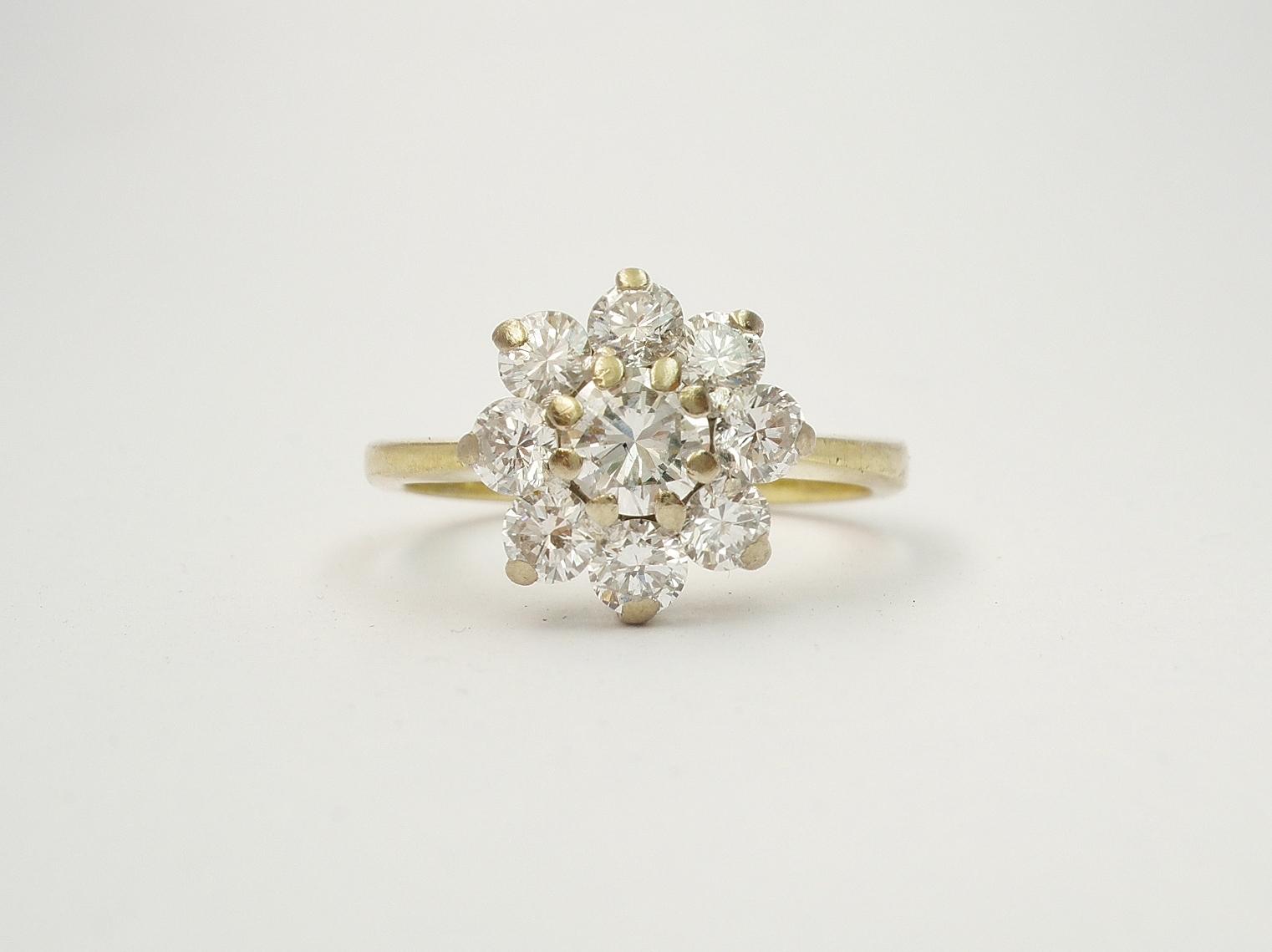 Customer's original 18ct. yellow & white gold 9 stone diamond cluster ring.