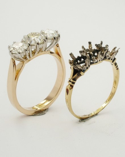 My 18ct red gold & platinum peg set 3 stone diamond ring remodel with the original very worn ring mount