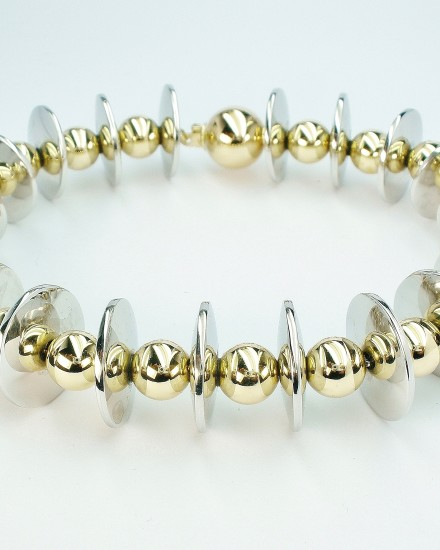 Handmade palladium disc & 18ct. yellow gold ball bracelet.