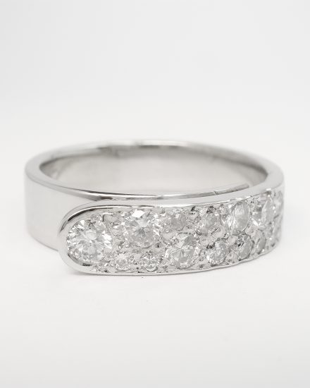 Palladium 'overlap' ring with round brilliant cut diamonds pave set across the top.