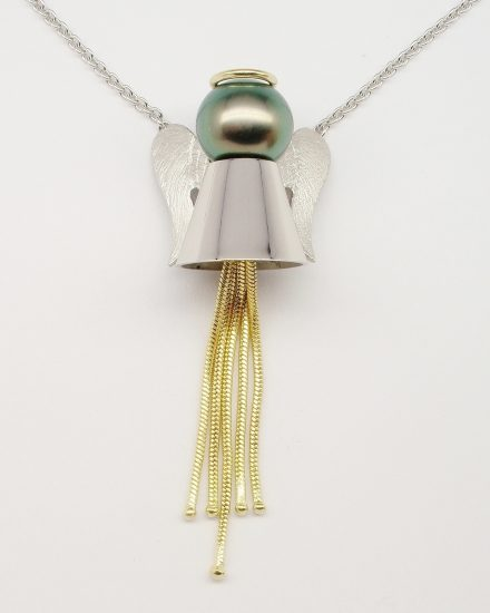 Black Tahitian pearl 'Angel' pendant mounted in palladium and 18ct. yellow gold.