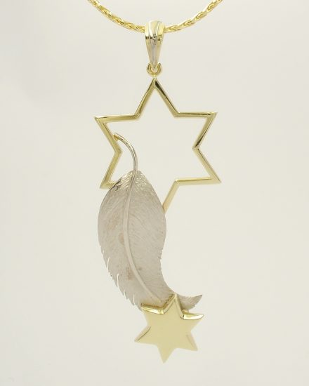 18ct. yellow gold and palladium feather and star pendant.