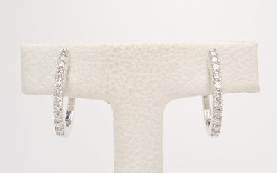 14ct. white gold 11 stone diamond hoop earrings. Was £1,055 Now £650