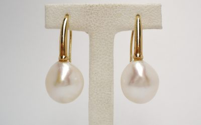 18ct. rose gold south sea baroque pearl earrings Pearls 12.5 - 14.5mm. Was £375 Now £225