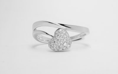 18ct. white gold pave` set diamond heart overlap ring. Was £935 Now £715