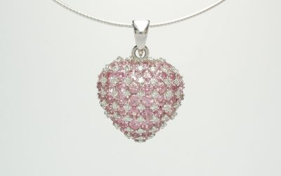18ct. white gold Pink sapphire & diamond pendant. Was £2,565 Now £1,290