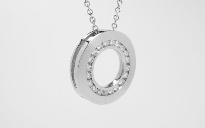 18ct. white gold 'Polo Mint' style pendant channel set with 20 diamonds. Was £2,100 Now £1,200