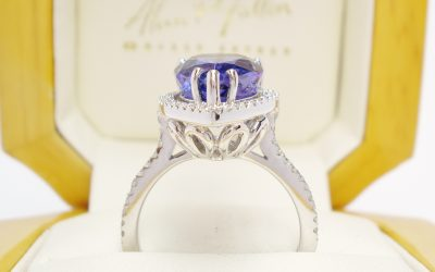 18ct white gold vivid blue-violet eye flawless 5.73ct. tanzanite and diamond (0.36ct) halo ring. Was £10,875 Then £6,500 (NOW £5,995 until 30th December!)