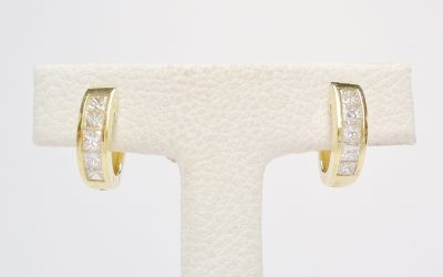 18ct. yellow gold hoop earrings each set with 5 princess cut diamonds. Was £875 Now £523