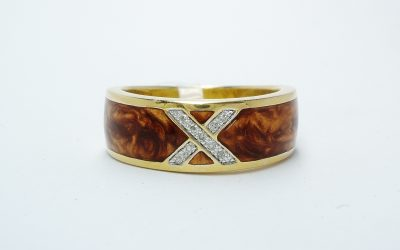 Silver gilt ring with pearlised caramel ceramic inlay and central diamond set X. (0.03cts) Was £160 Now £95