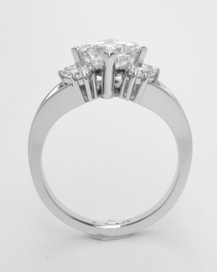 1.80ct. princess cut diamond & pear shaped diamond 5 stone platinum engagement ring.