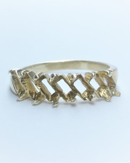 7 stone baguette diamond wedding ring remodelled in 18ct yellow gold and platinum
