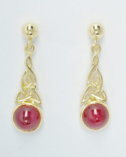 A pair of 18ct yellow gold hand carved Celtic pattern drop earrings set with cabochon rubies.
