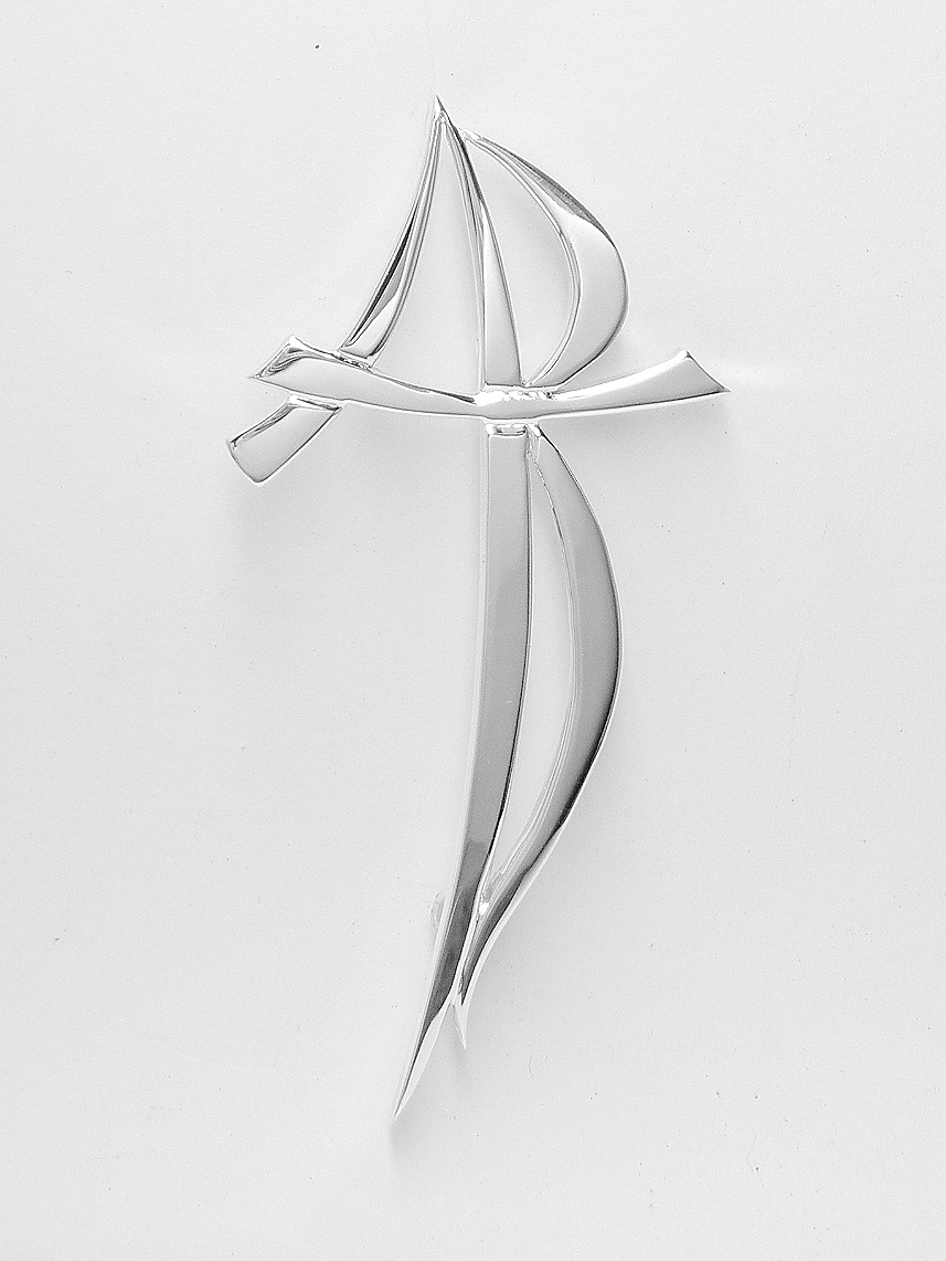 Sterling silver stylised A.R.T. initial kilt pin.