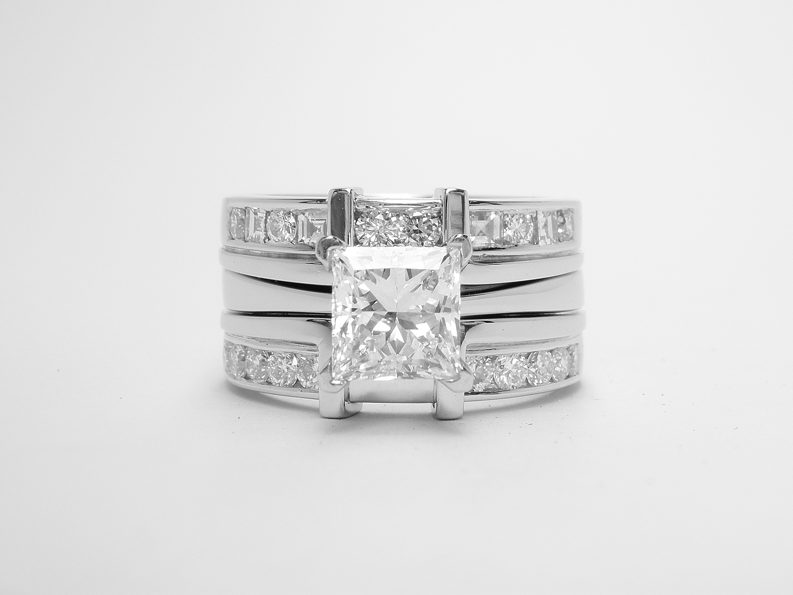 The engagement, wedding & eternity ring set.