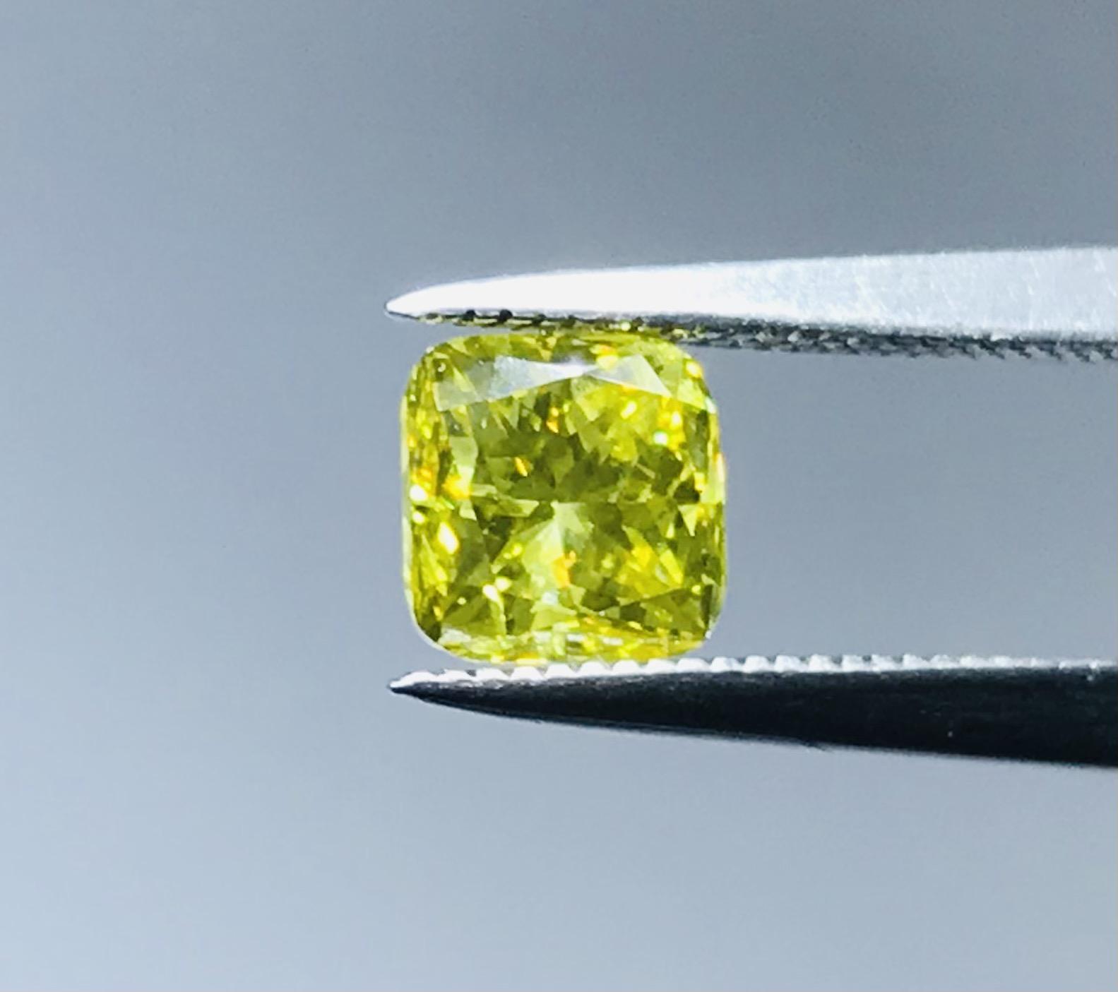 0.96 carat square cusion cut vibrant canary yellow diamond