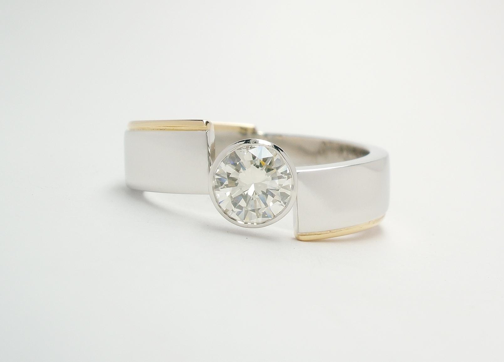 Diamond, Platinum & Gold Angel Ring