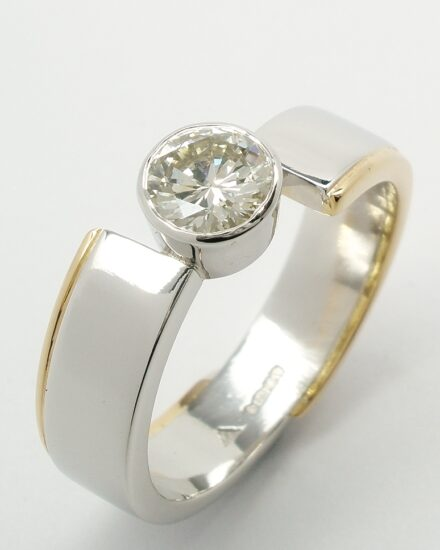 Diamond, Platinum & Gold Angel Ring