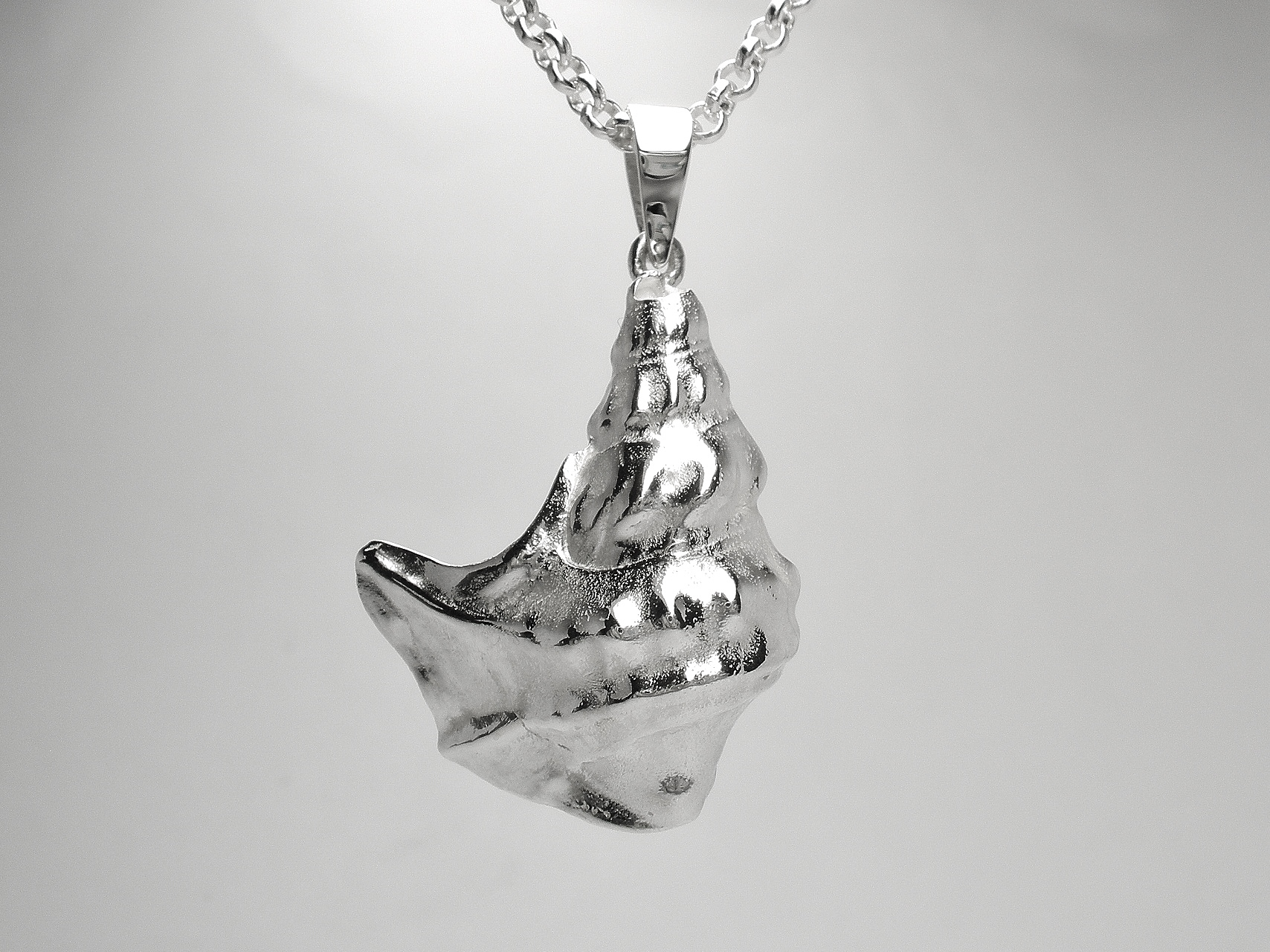 Sterling silver 'Pelican foot shell' pendant cast from a real shell.
